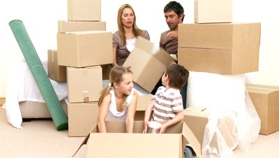family getting ready for move