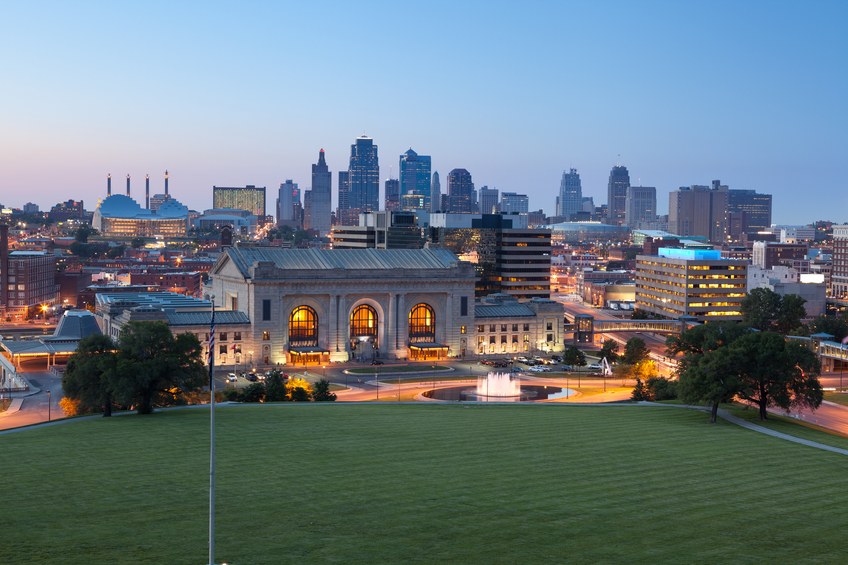 Image of the Kansas City your new home skyline at twilight