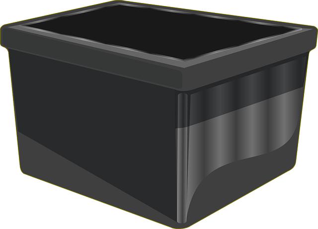 A black plastic bin