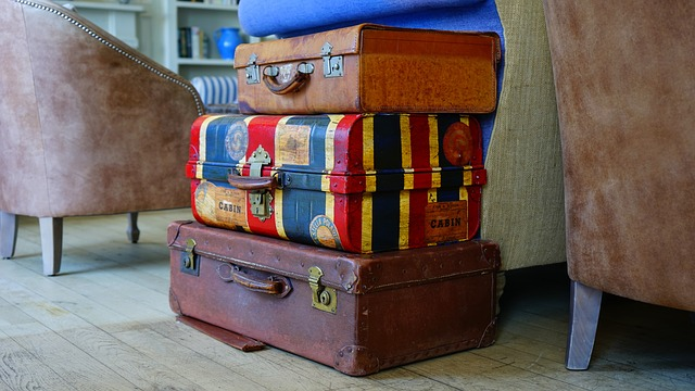 Three suitcases stacked